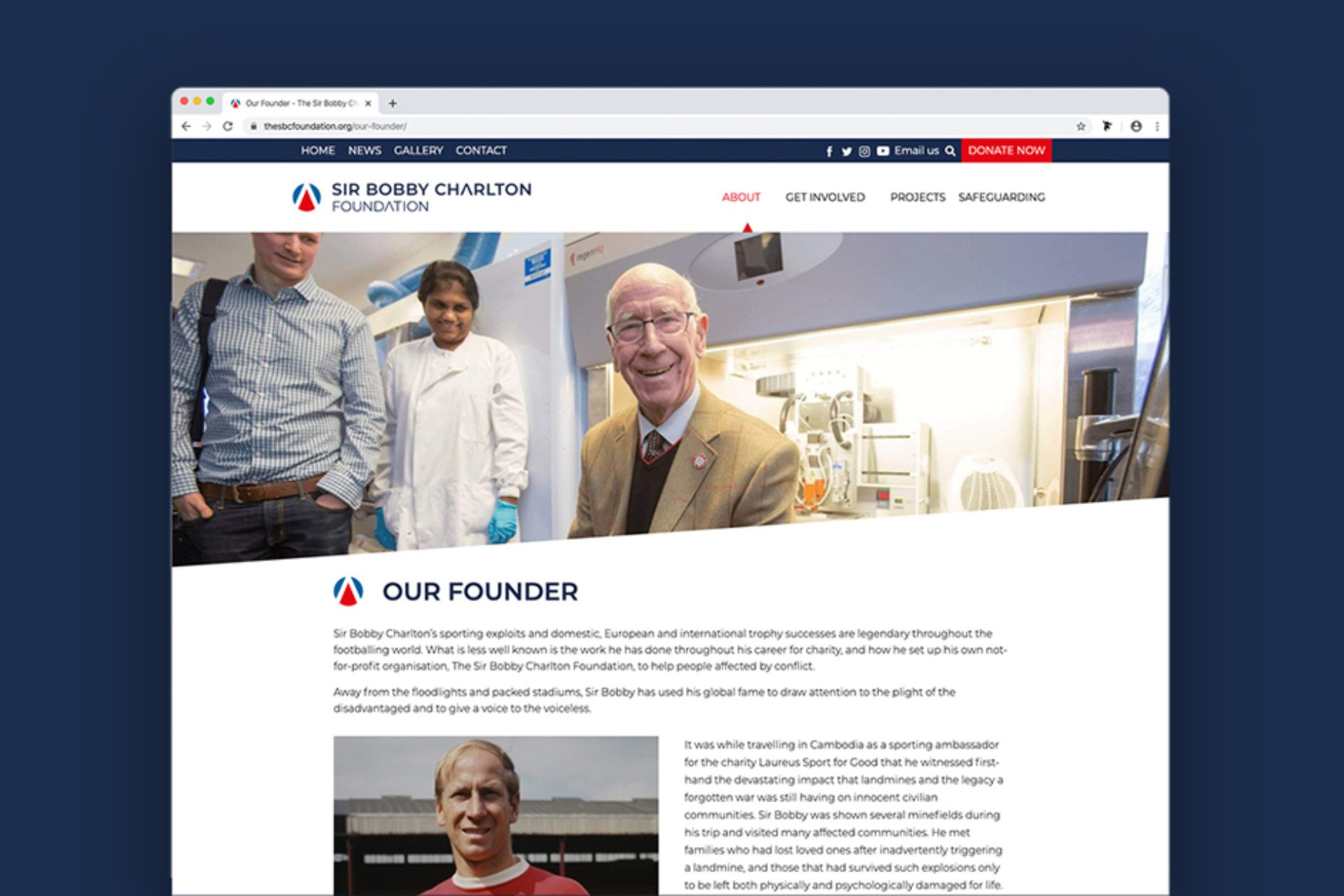Website design and build for The Sir Bobby Charlton Foundation