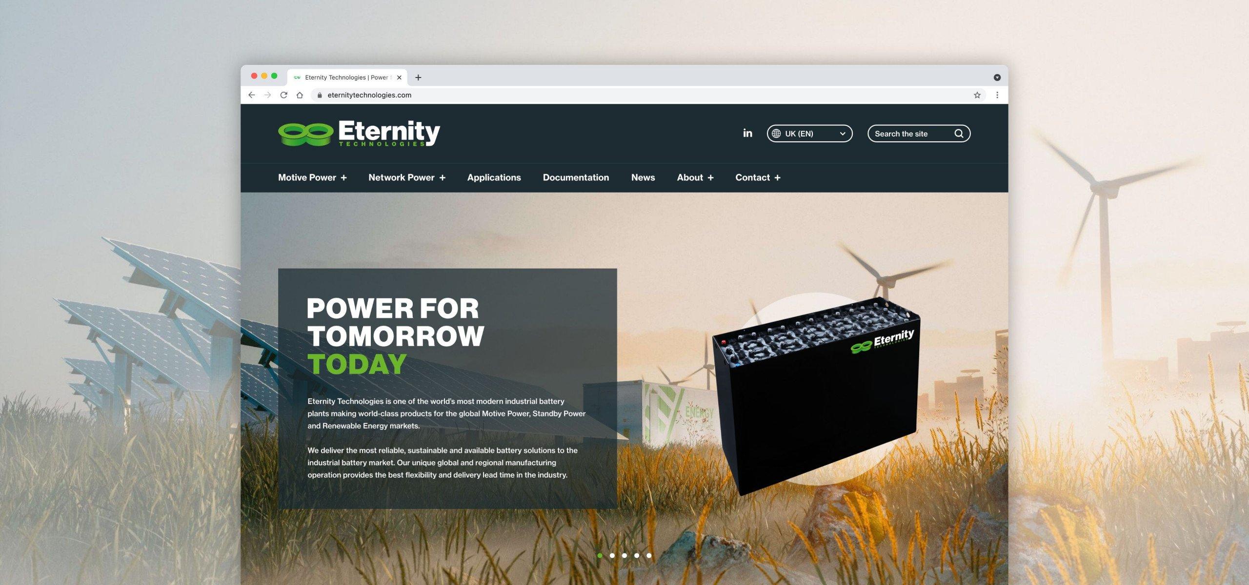 Website design for Eternity Technologies